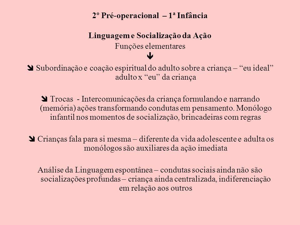 2º Pré-operacional – 1ª Infância Linguagem e Socialização da Ação