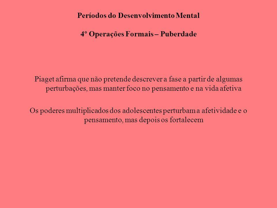 Períodos do Desenvolvimento Mental 4º Operações Formais – Puberdade
