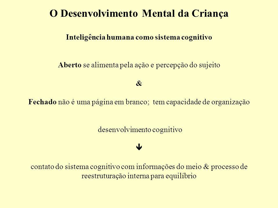 O Desenvolvimento Mental da Criança Inteligência humana como sistema cognitivo Aberto se alimenta pela ação e percepção do sujeito & Fechado não é uma página em branco; tem capacidade de organização desenvolvimento cognitivo  contato do sistema cognitivo com informações do meio & processo de reestruturação interna para equilíbrio