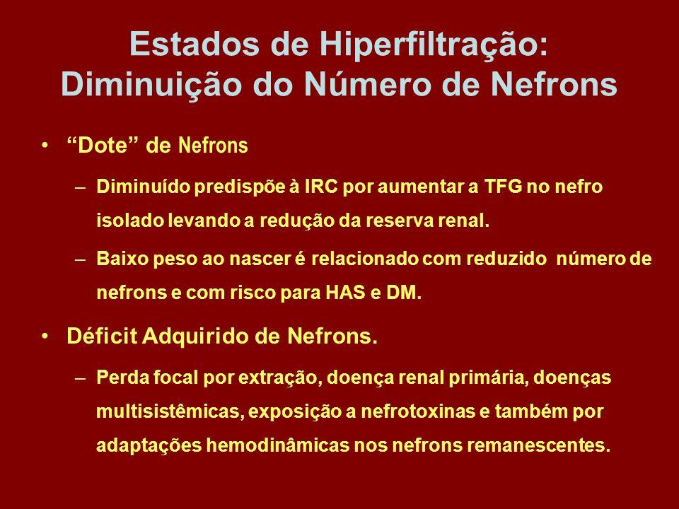 Estados de Hiperfiltração: Diminuição do Número de Nefrons
