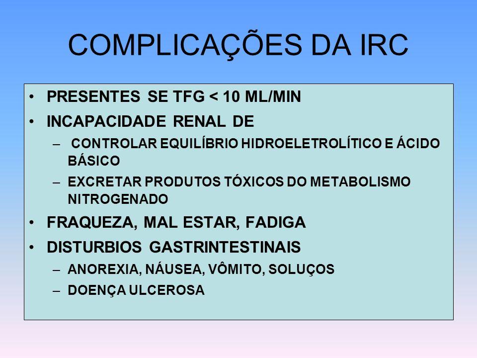 COMPLICAÇÕES DA IRC PRESENTES SE TFG < 10 ML/MIN