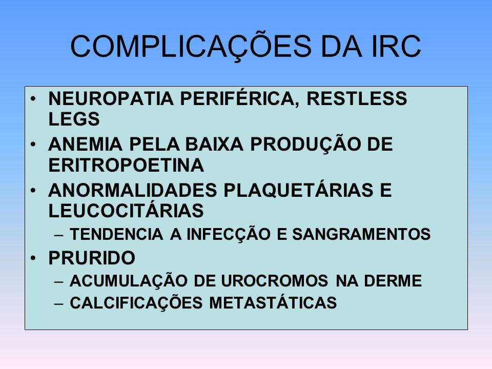 COMPLICAÇÕES DA IRC NEUROPATIA PERIFÉRICA, RESTLESS LEGS