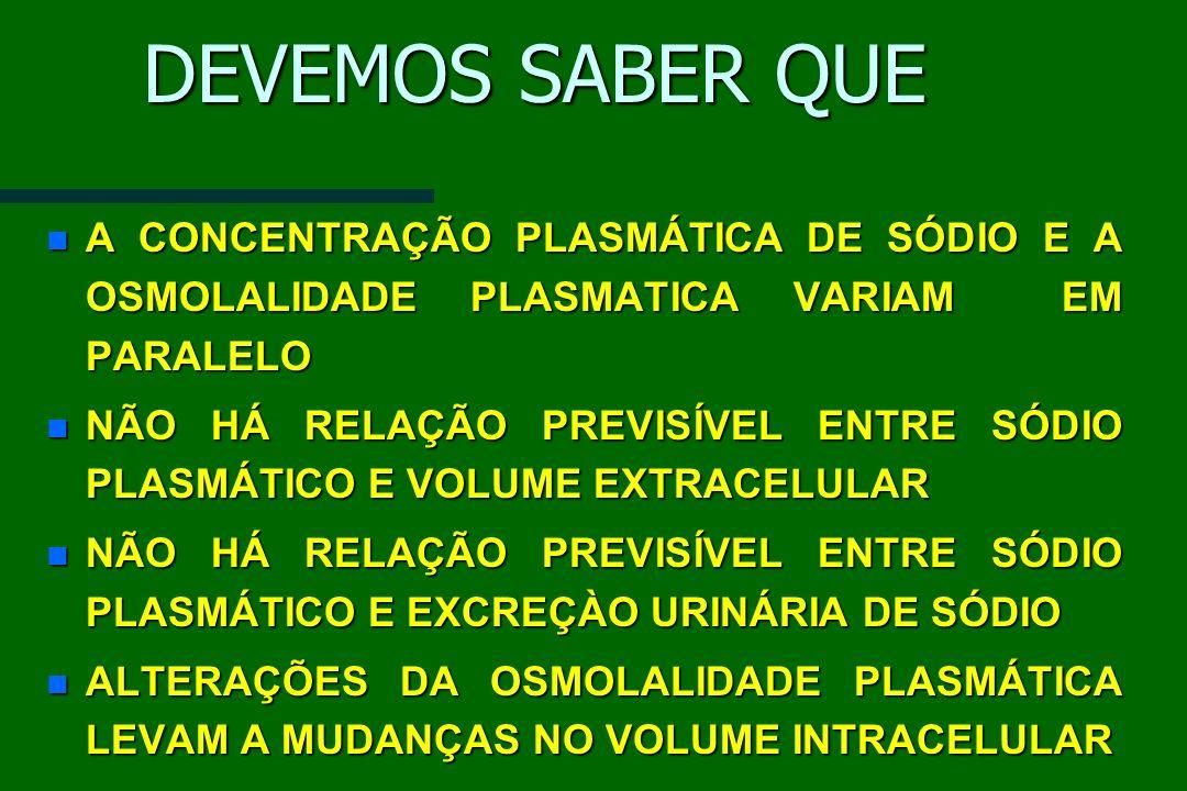 DEVEMOS SABER QUE A CONCENTRAÇÃO PLASMÁTICA DE SÓDIO E A OSMOLALIDADE PLASMATICA VARIAM EM PARALELO.