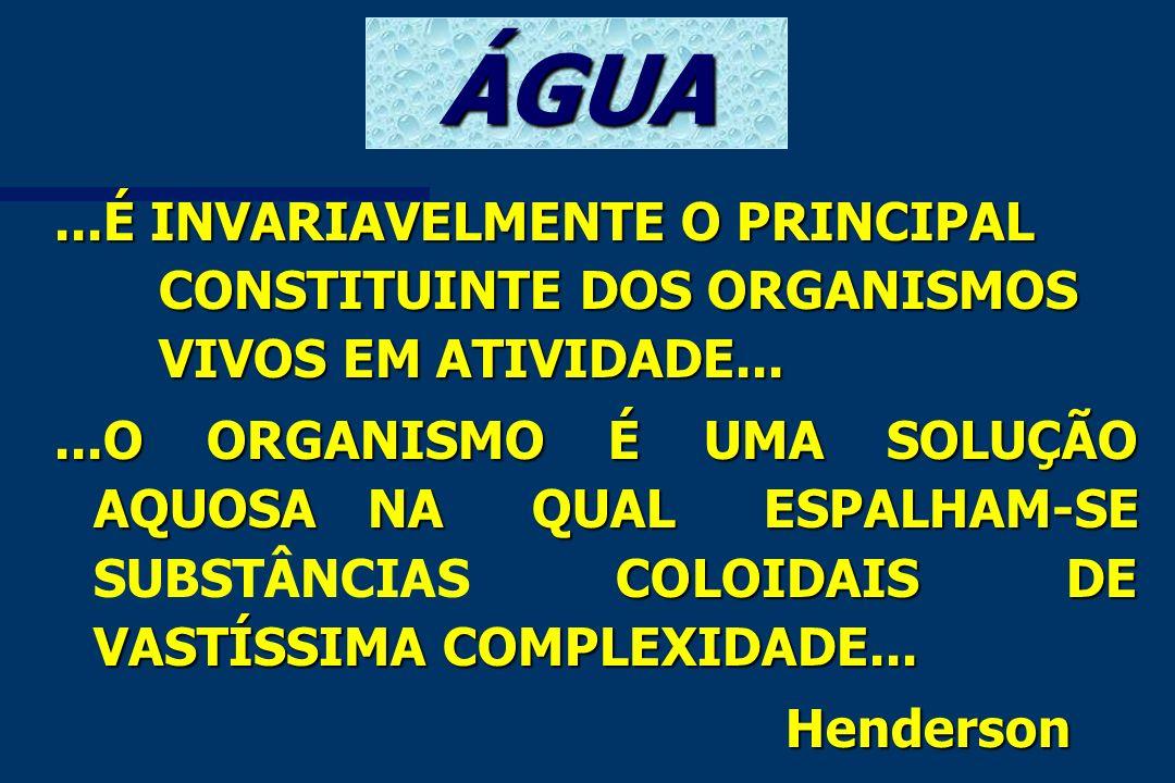 ÁGUA ...É INVARIAVELMENTE O PRINCIPAL CONSTITUINTE DOS ORGANISMOS VIVOS EM ATIVIDADE...
