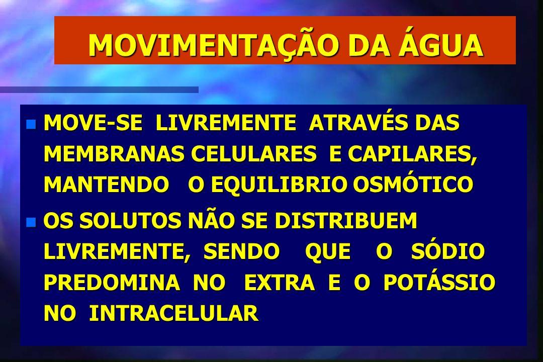 MOVIMENTAÇÃO DA ÁGUA MOVE-SE LIVREMENTE ATRAVÉS DAS MEMBRANAS CELULARES E CAPILARES, MANTENDO O EQUILIBRIO OSMÓTICO.