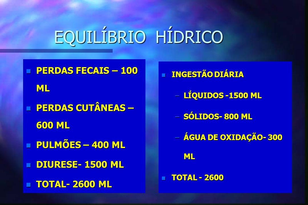 EQUILÍBRIO HÍDRICO PERDAS FECAIS – 100 ML PERDAS CUTÂNEAS – 600 ML