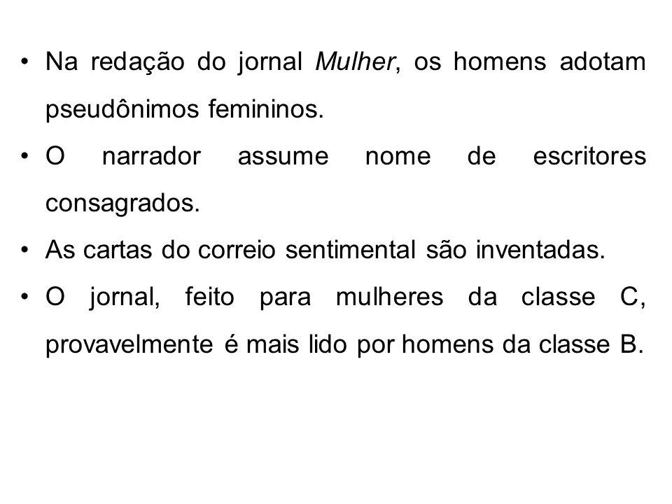 Na redação do jornal Mulher, os homens adotam pseudônimos femininos.
