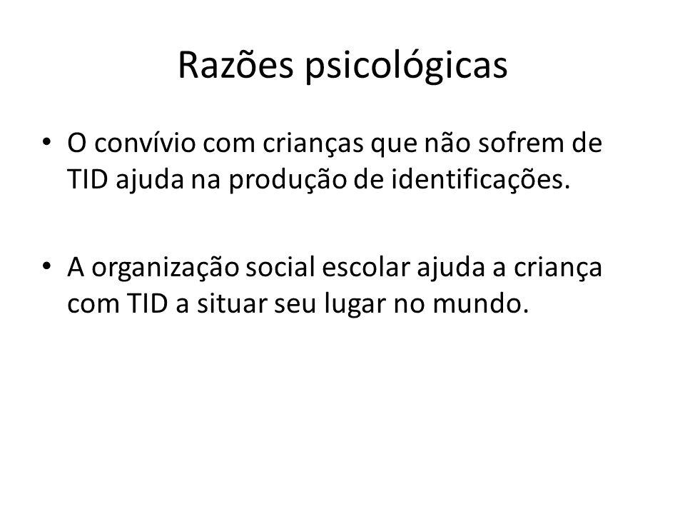 Razões psicológicas O convívio com crianças que não sofrem de TID ajuda na produção de identificações.