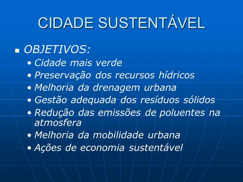 CIDADE SUSTENTÁVEL OBJETIVOS: Cidade mais verde
