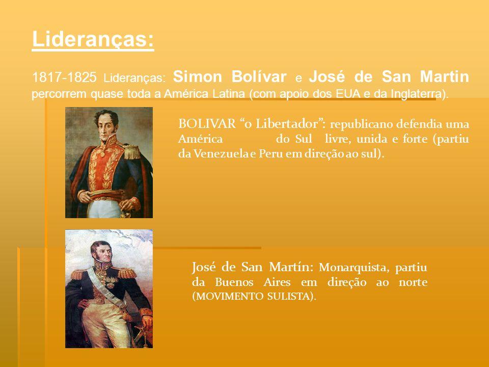 Lideranças: 1817-1825 Lideranças: Simon Bolívar e José de San Martin percorrem quase toda a América Latina (com apoio dos EUA e da Inglaterra).