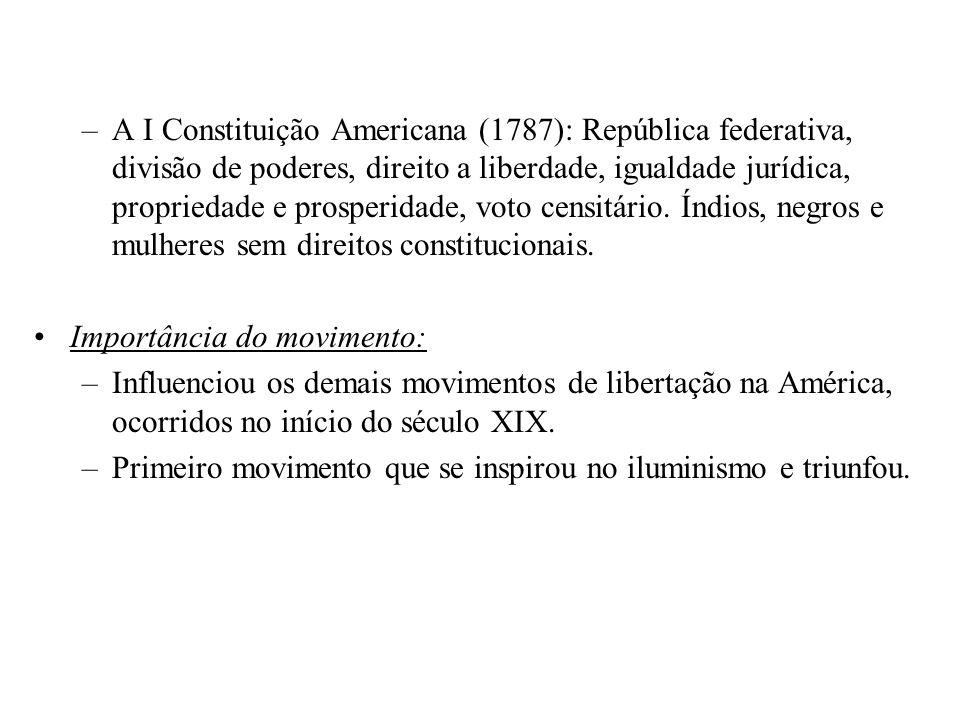 A I Constituição Americana (1787): República federativa, divisão de poderes, direito a liberdade, igualdade jurídica, propriedade e prosperidade, voto censitário. Índios, negros e mulheres sem direitos constitucionais.