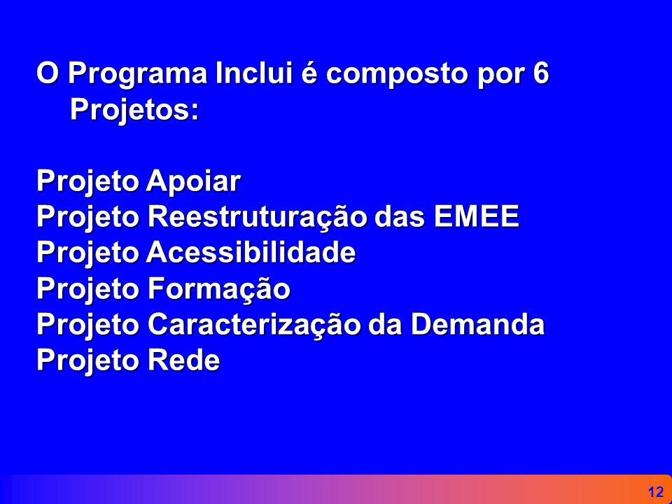 O Programa Inclui é composto por 6 Projetos: