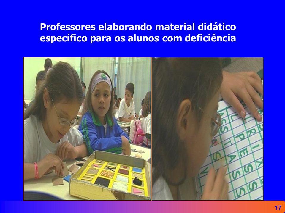 Professores elaborando material didático específico para os alunos com deficiência