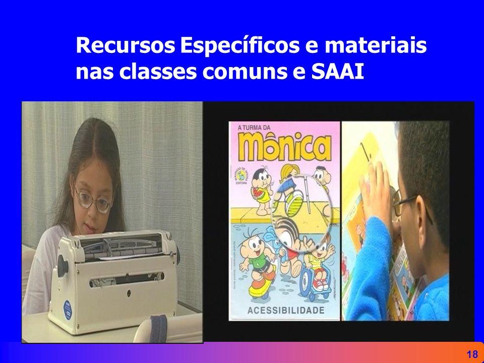 Recursos Específicos e materiais nas classes comuns e SAAI