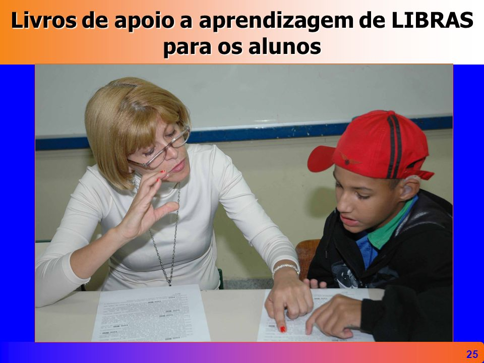 Livros de apoio a aprendizagem de LIBRAS para os alunos