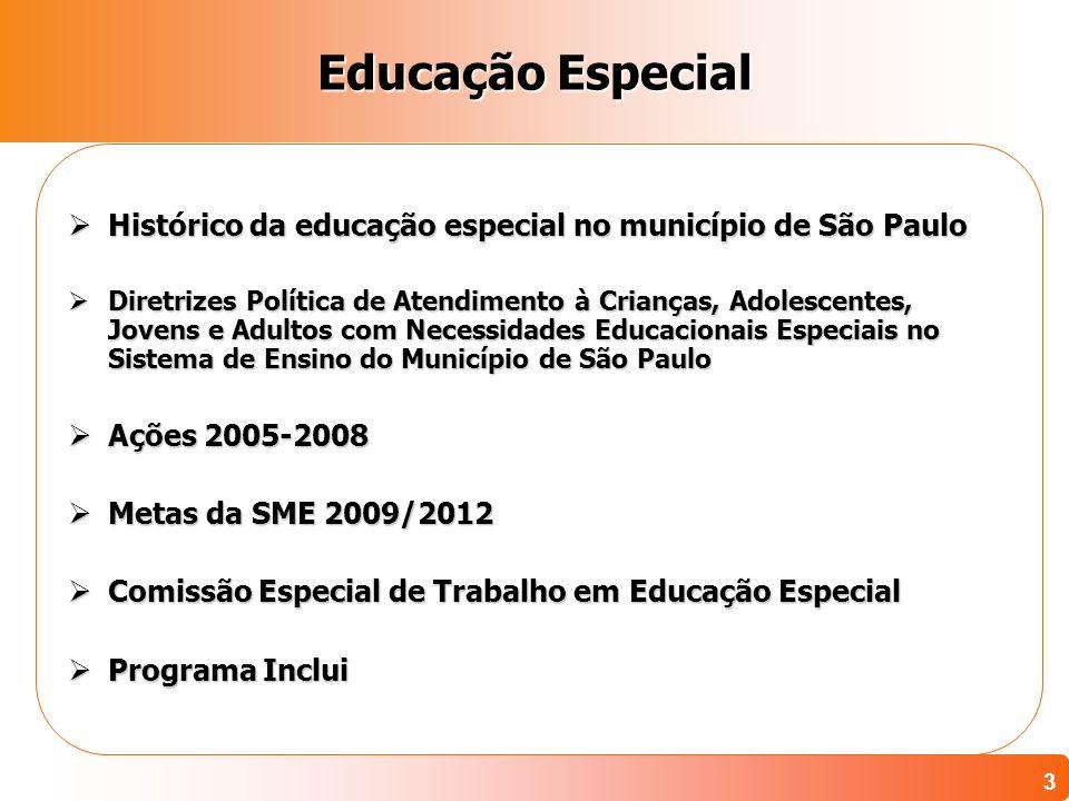 Educação Especial Histórico da educação especial no município de São Paulo.