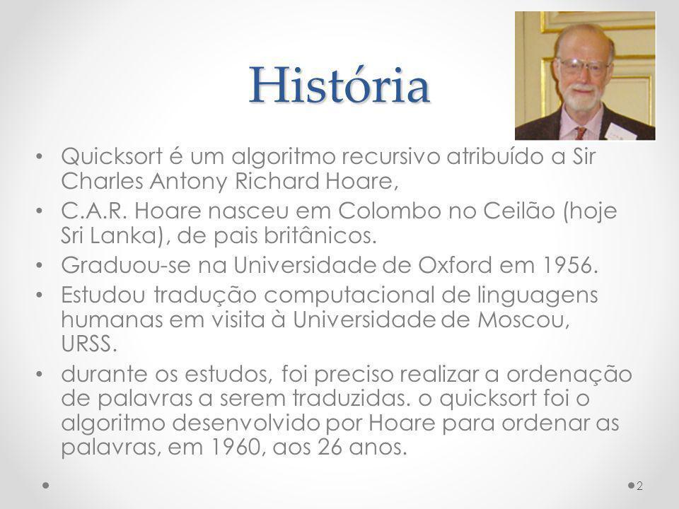 História Quicksort é um algoritmo recursivo atribuído a Sir Charles Antony Richard Hoare,