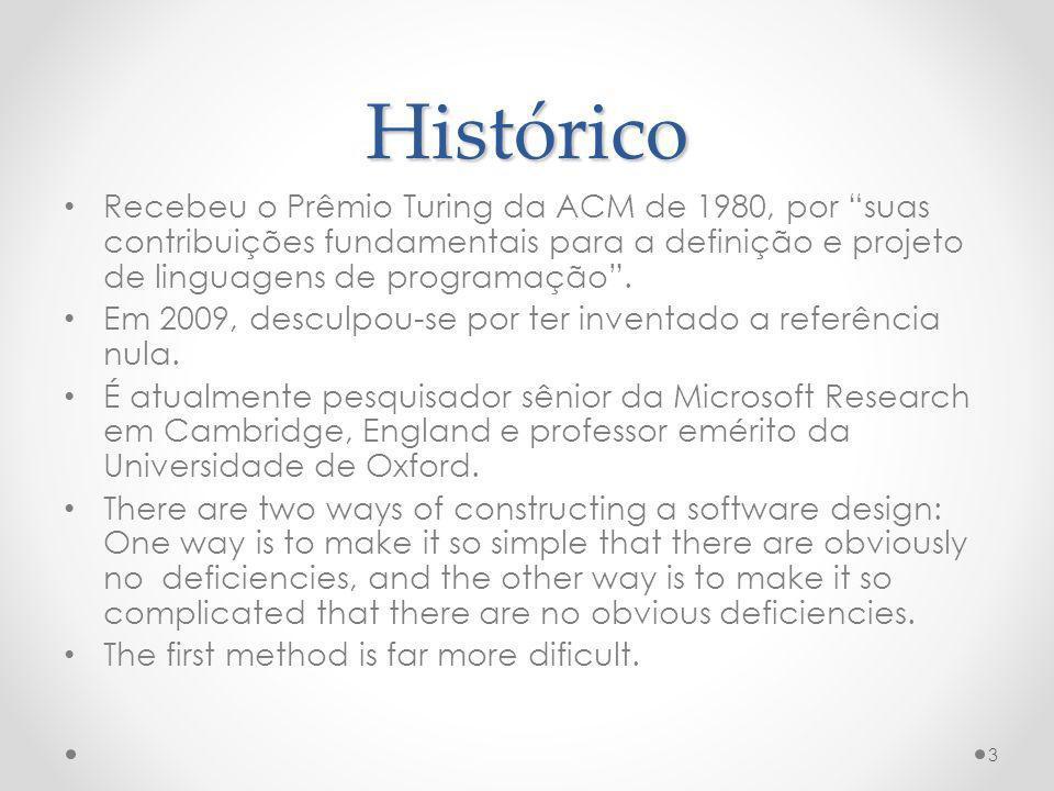 Histórico Recebeu o Prêmio Turing da ACM de 1980, por suas contribuições fundamentais para a definição e projeto de linguagens de programação .