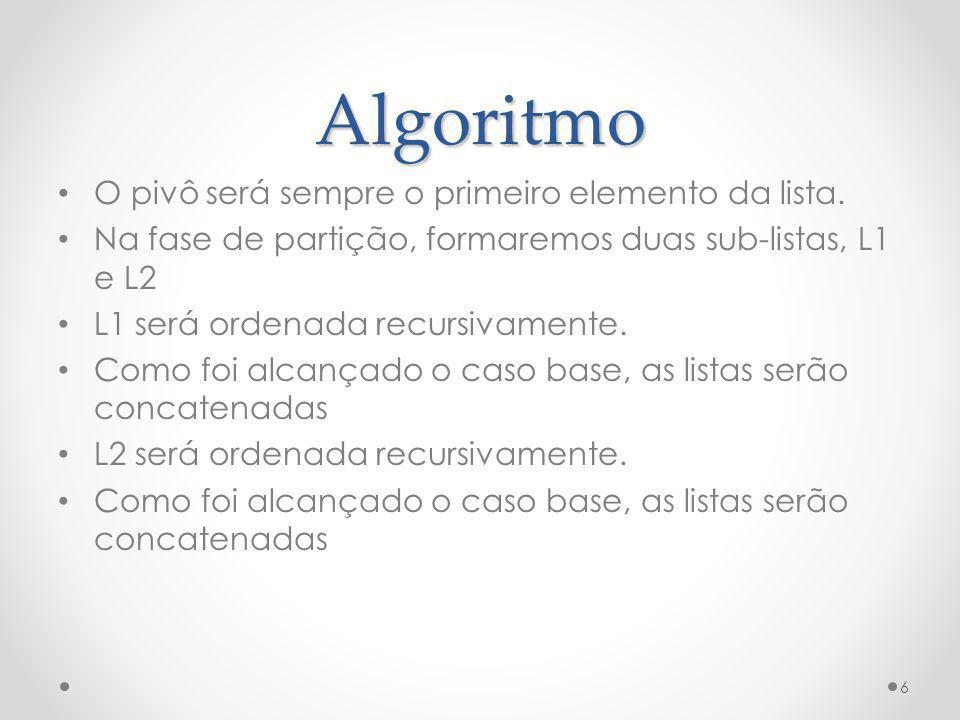 Algoritmo O pivô será sempre o primeiro elemento da lista.