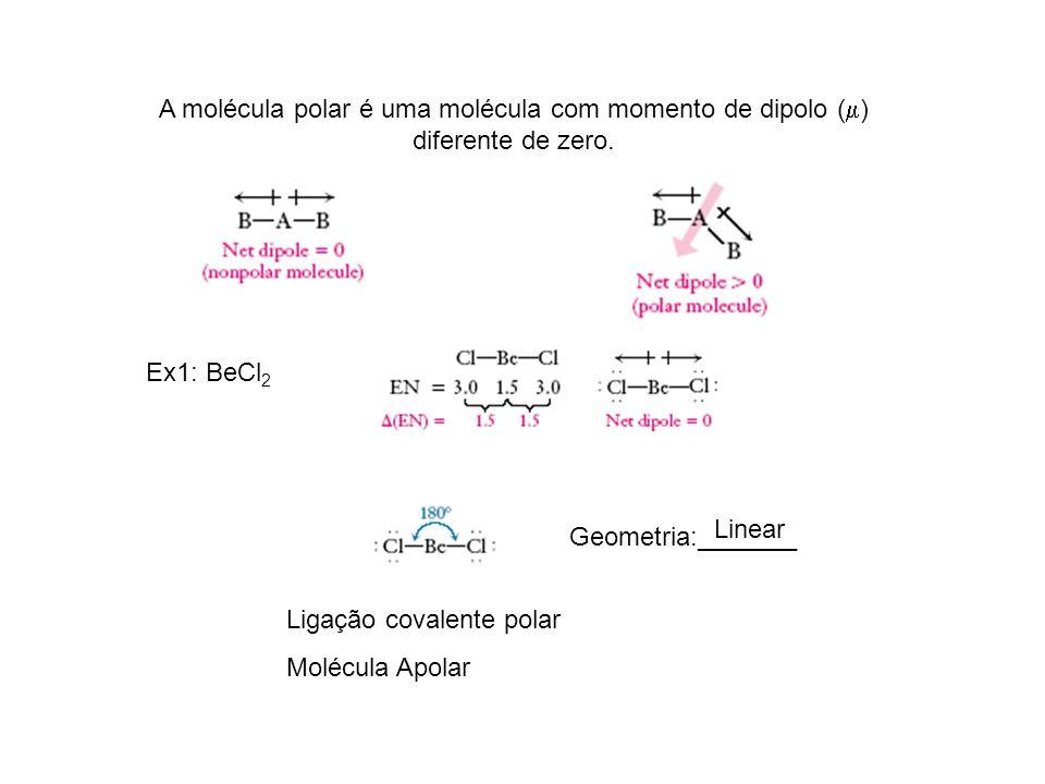 A molécula polar é uma molécula com momento de dipolo () diferente de zero.