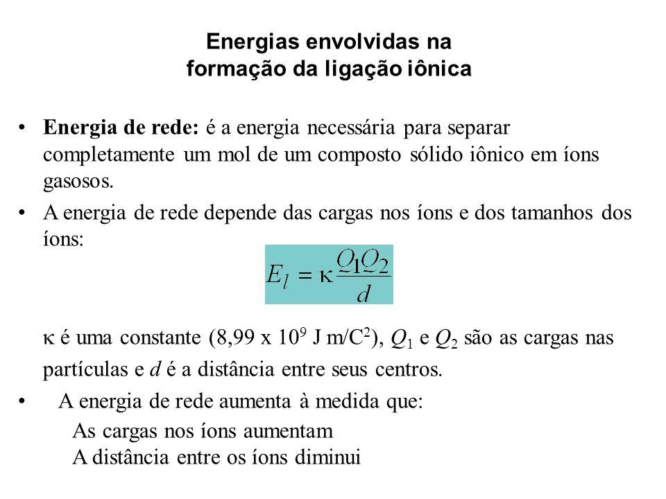 Energias envolvidas na formação da ligação iônica