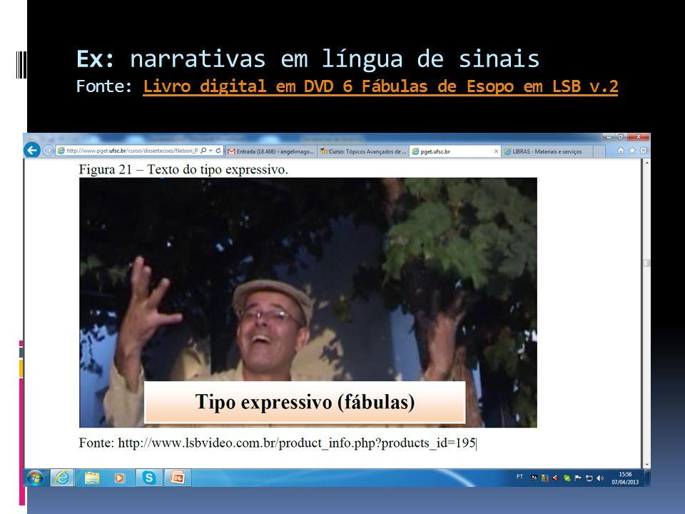 Ex: narrativas em língua de sinais Fonte: Livro digital em DVD 6 Fábulas de Esopo em LSB v.2