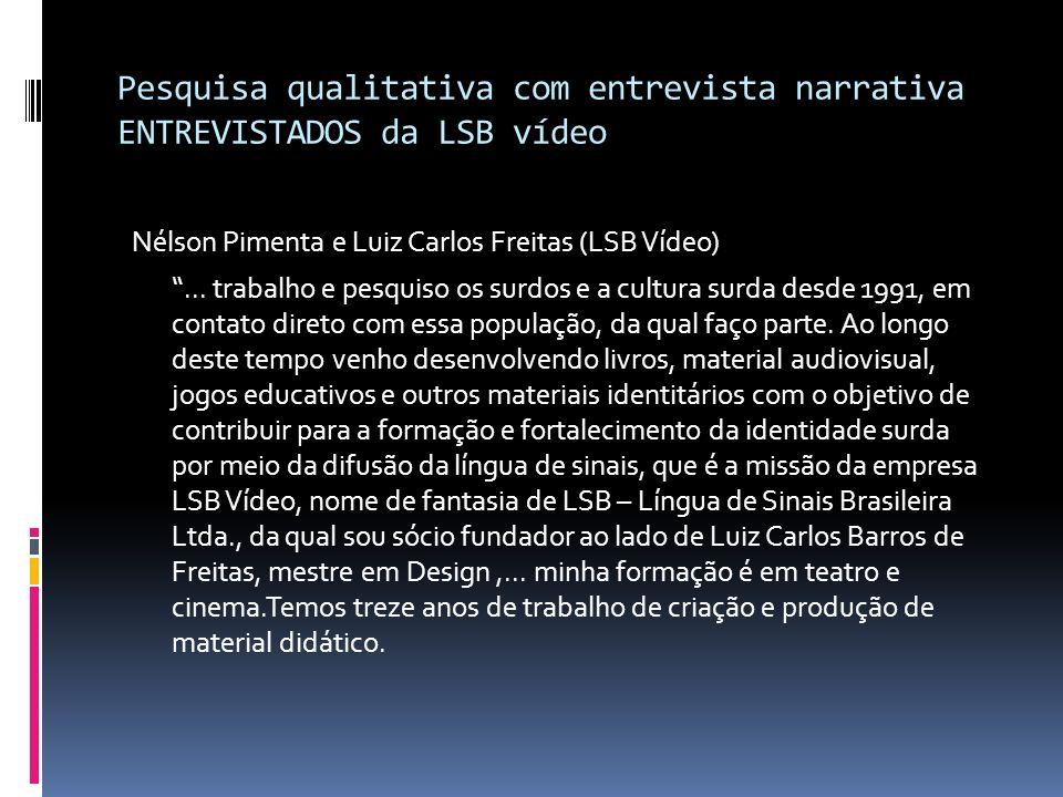 Pesquisa qualitativa com entrevista narrativa ENTREVISTADOS da LSB vídeo