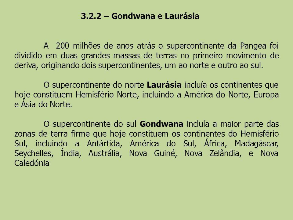 3.2.2 – Gondwana e Laurásia
