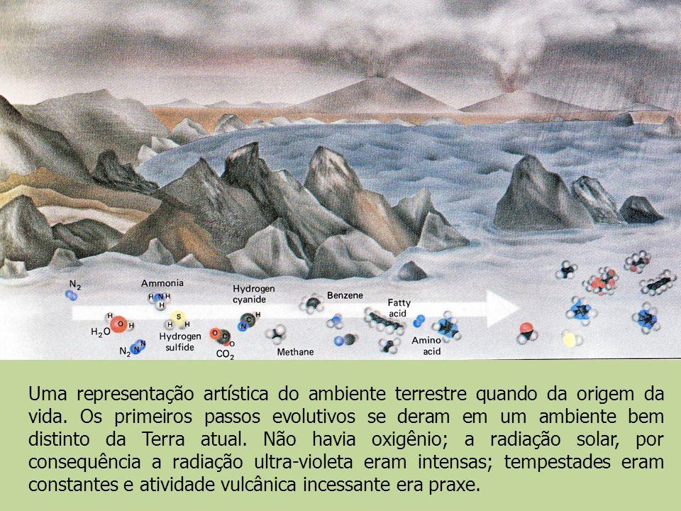 Uma representação artística do ambiente terrestre quando da origem da vida.