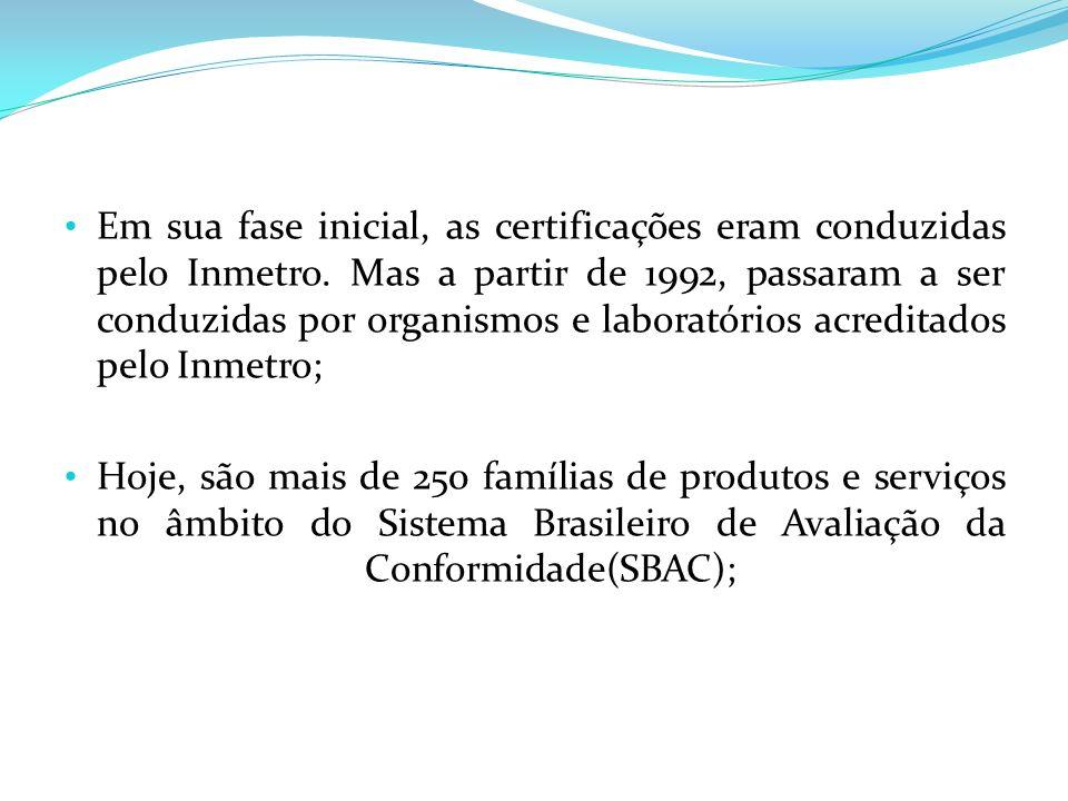 Em sua fase inicial, as certificações eram conduzidas pelo Inmetro