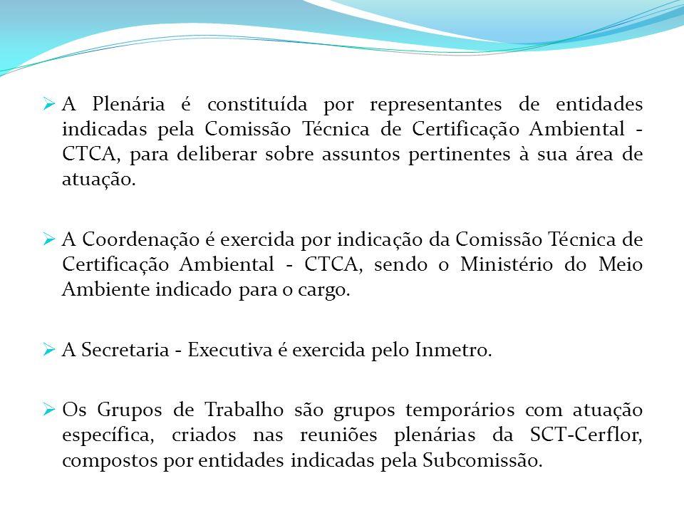 A Plenária é constituída por representantes de entidades indicadas pela Comissão Técnica de Certificação Ambiental - CTCA, para deliberar sobre assuntos pertinentes à sua área de atuação.