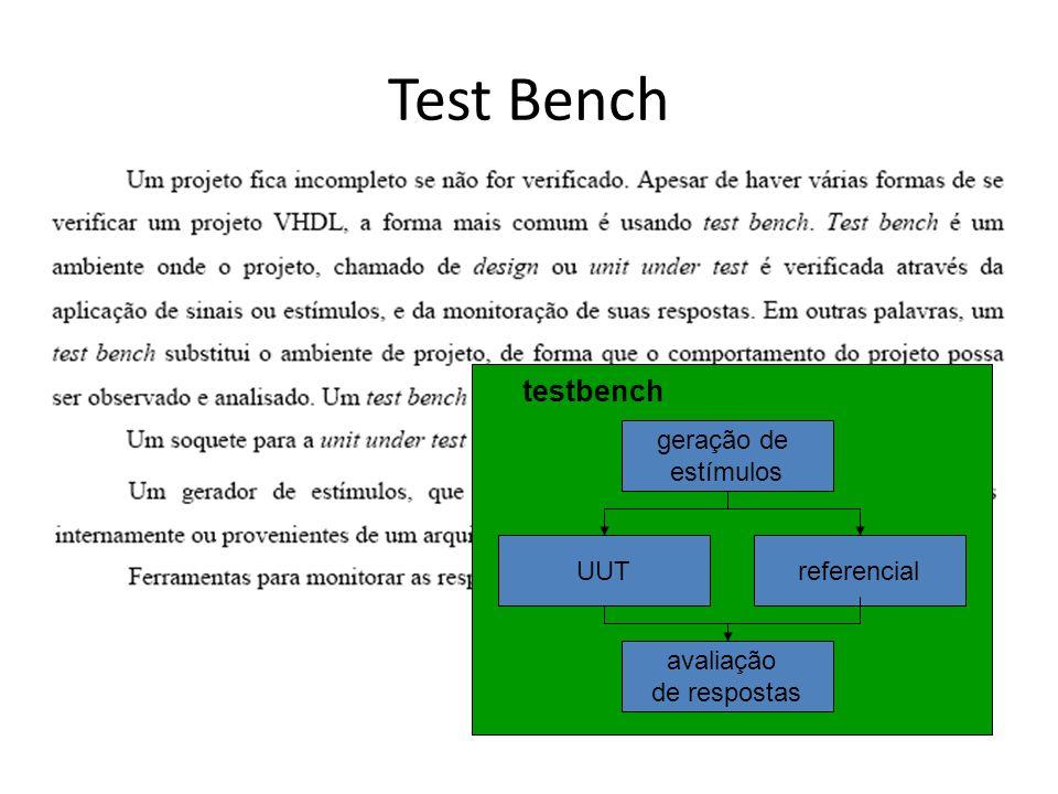 Test Bench testbench UUT geração de estímulos avaliação de respostas