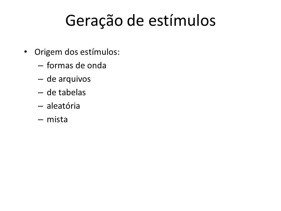 Geração de estímulos Origem dos estímulos: formas de onda de arquivos