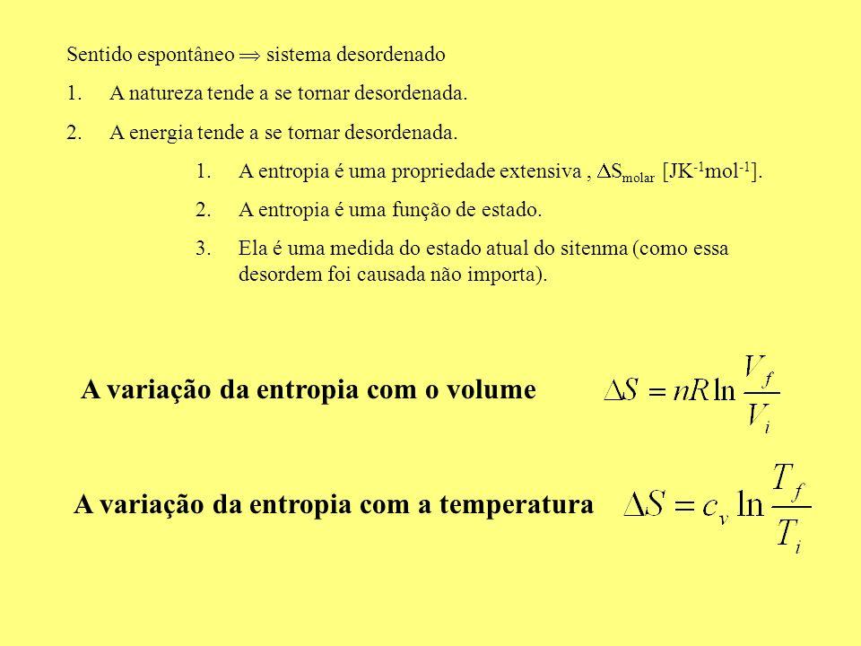 A variação da entropia com o volume