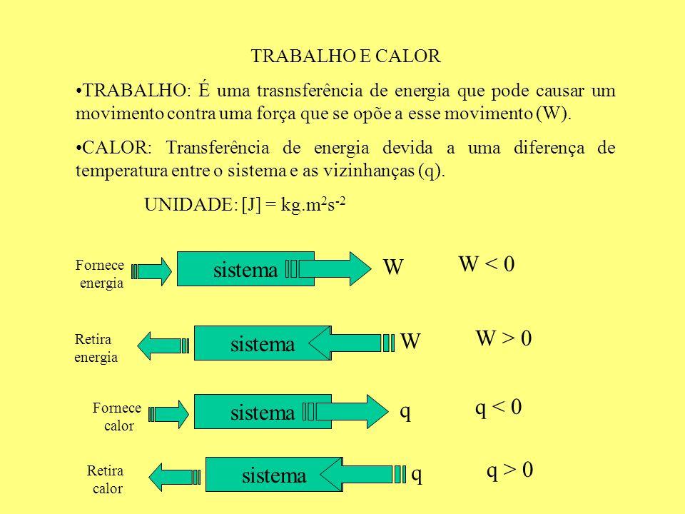 W < 0 W sistema W > 0 W sistema q < 0 q sistema q > 0 q