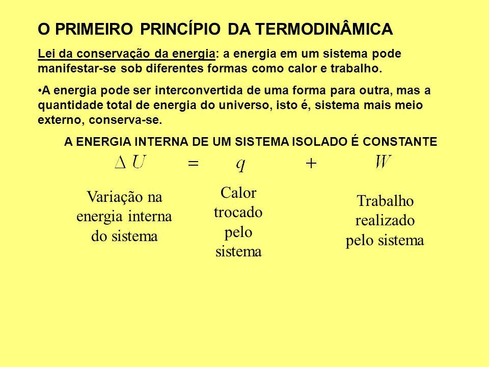 A ENERGIA INTERNA DE UM SISTEMA ISOLADO É CONSTANTE
