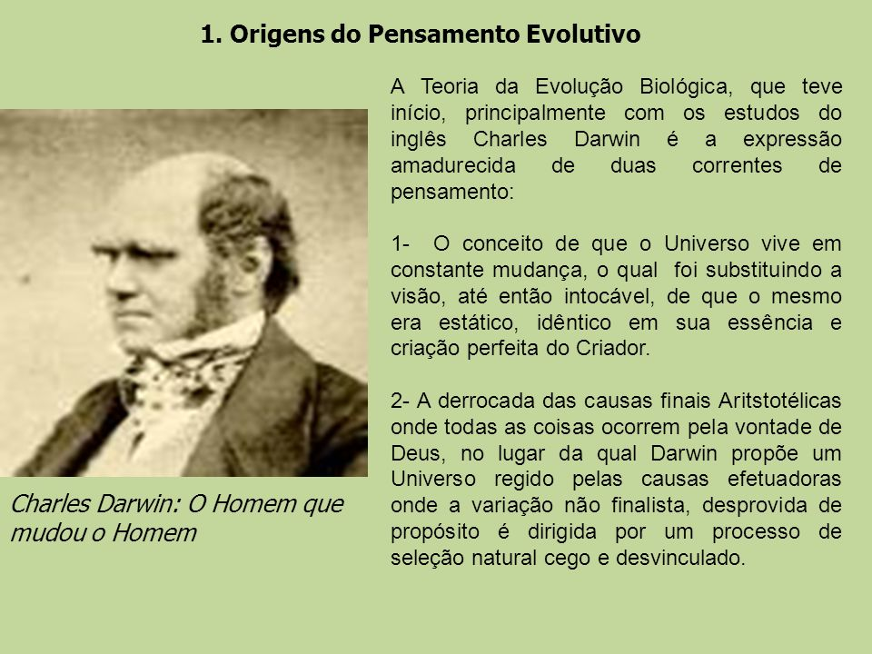 1. Origens do Pensamento Evolutivo