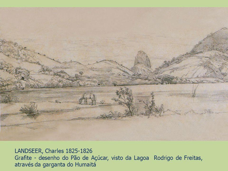 LANDSEER, Charles 1825-1826 Grafite - desenho do Pão de Açúcar, visto da Lagoa Rodrigo de Freitas, através da garganta do Humaitá.