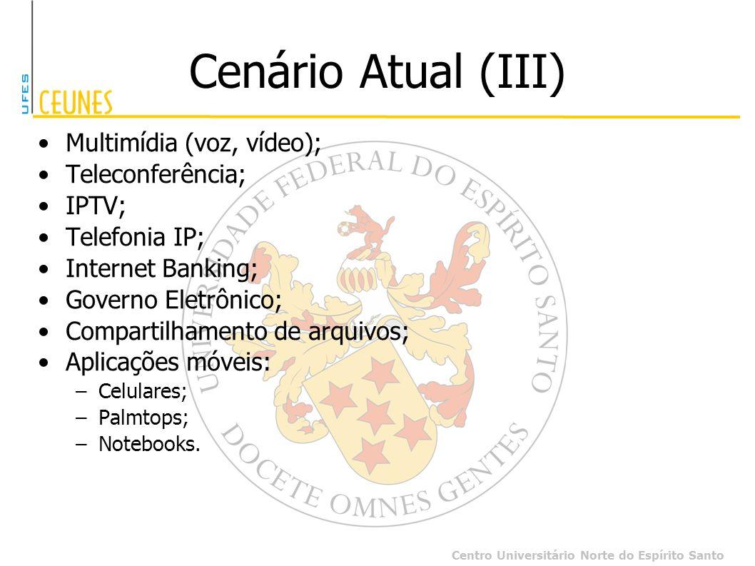 Cenário Atual (III) Multimídia (voz, vídeo); Teleconferência; IPTV;