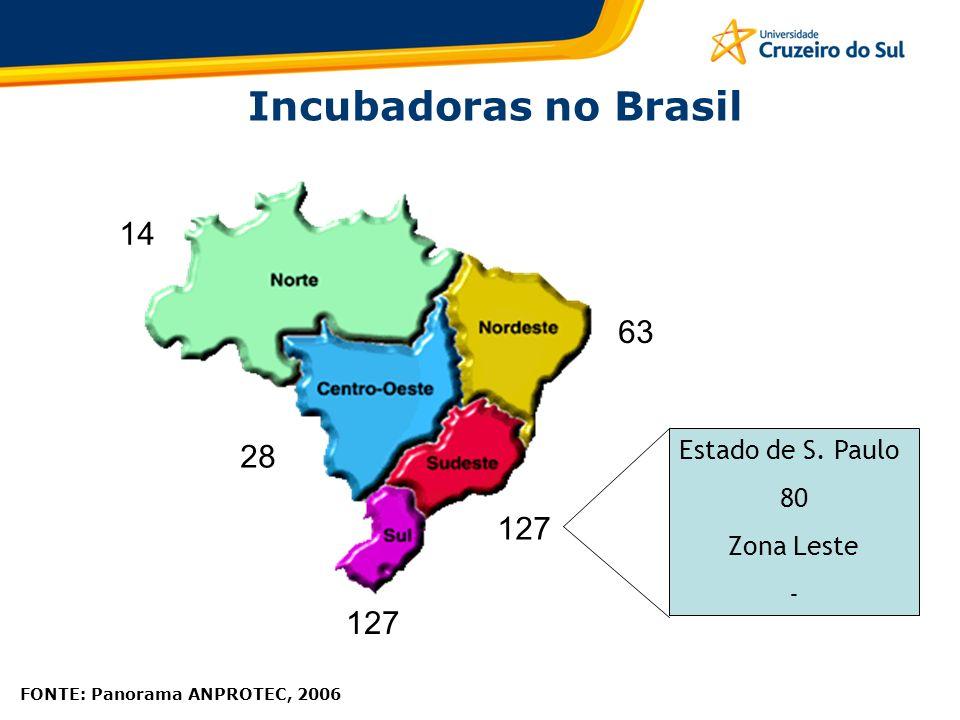 Incubadoras no Brasil 14 63 28 127 127 Estado de S. Paulo 80