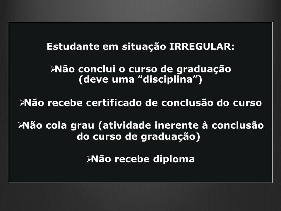 Estudante em situação IRREGULAR: Não conclui o curso de graduação