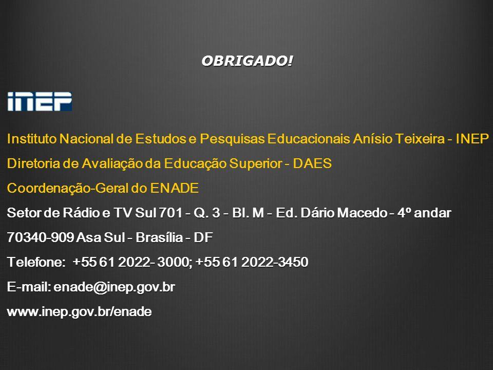 OBRIGADO!Instituto Nacional de Estudos e Pesquisas Educacionais Anísio Teixeira - INEP. Diretoria de Avaliação da Educação Superior - DAES.