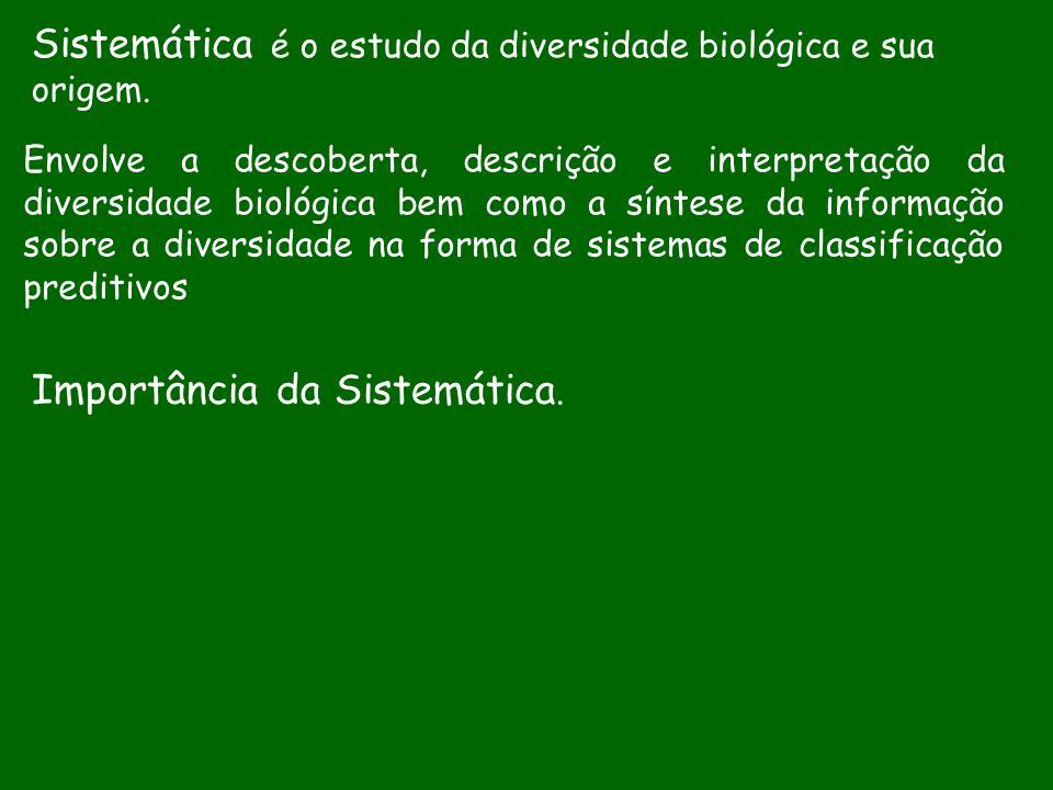 Sistemática é o estudo da diversidade biológica e sua origem.