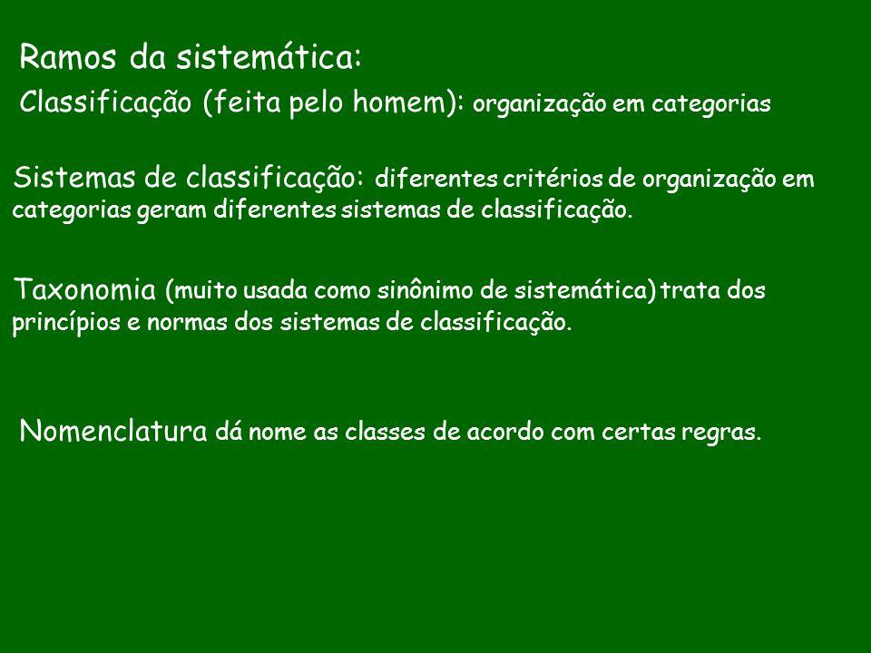 Ramos da sistemática: Classificação (feita pelo homem): organização em categorias.