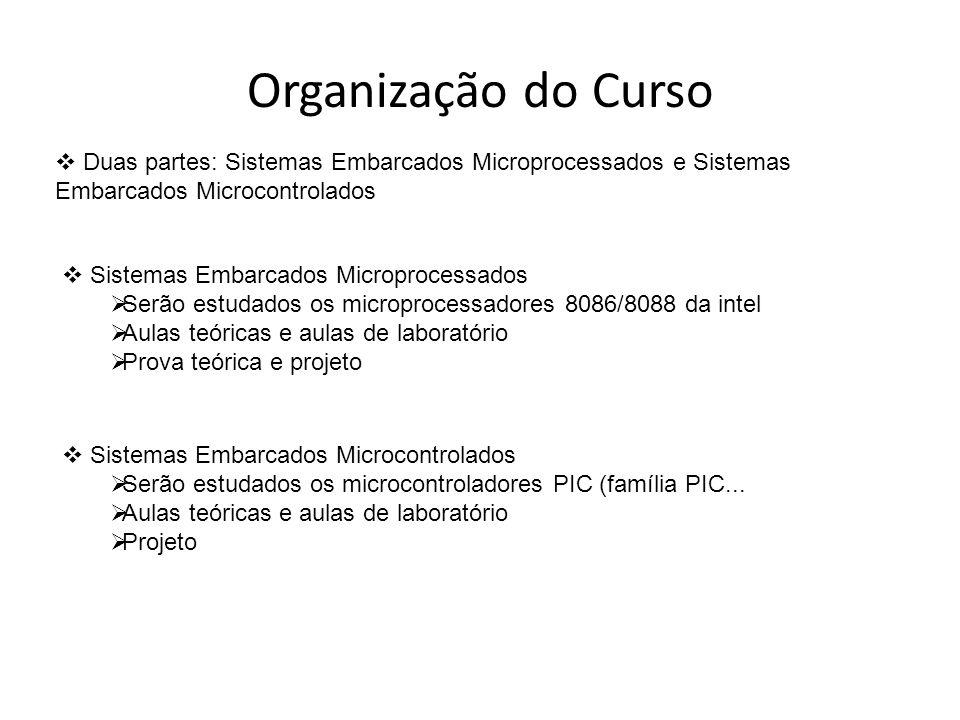 Organização do Curso Duas partes: Sistemas Embarcados Microprocessados e Sistemas Embarcados Microcontrolados.