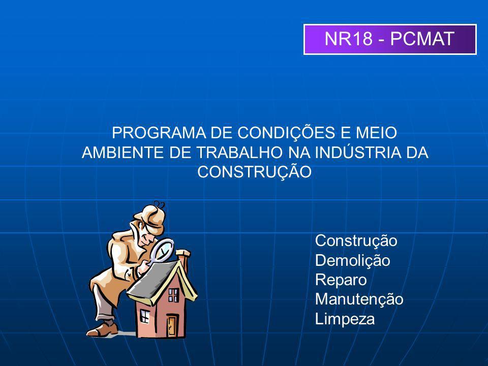 NR18 - PCMAT PROGRAMA DE CONDIÇÕES E MEIO AMBIENTE DE TRABALHO NA INDÚSTRIA DA CONSTRUÇÃO. Construção.