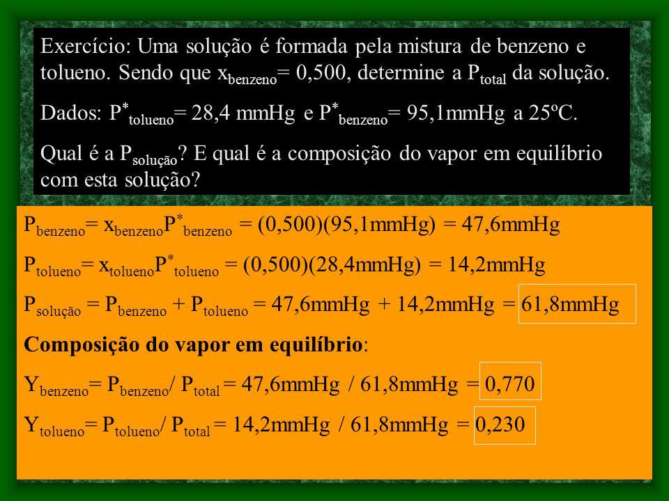 Exercício: Uma solução é formada pela mistura de benzeno e tolueno