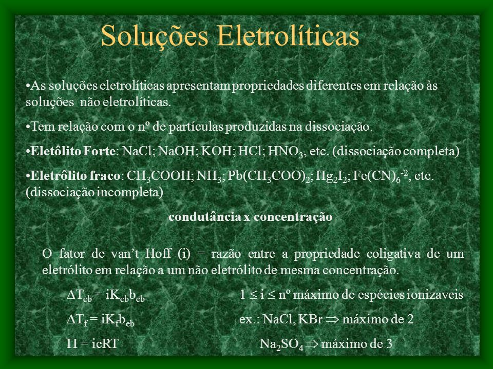 Soluções Eletrolíticas