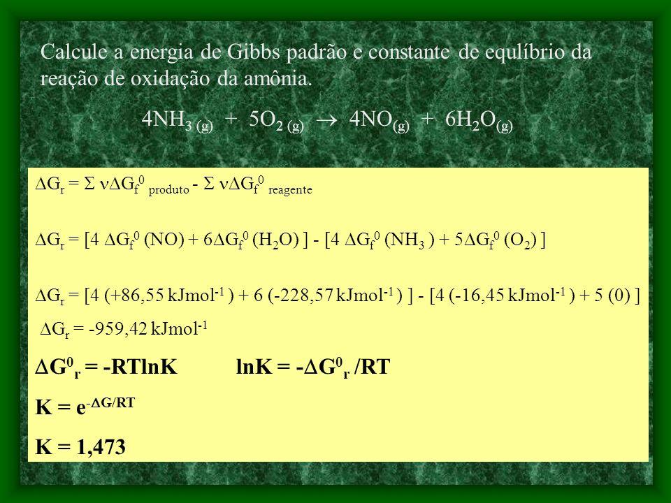 4NH3 (g) + 5O2 (g)  4NO(g) + 6H2O(g)