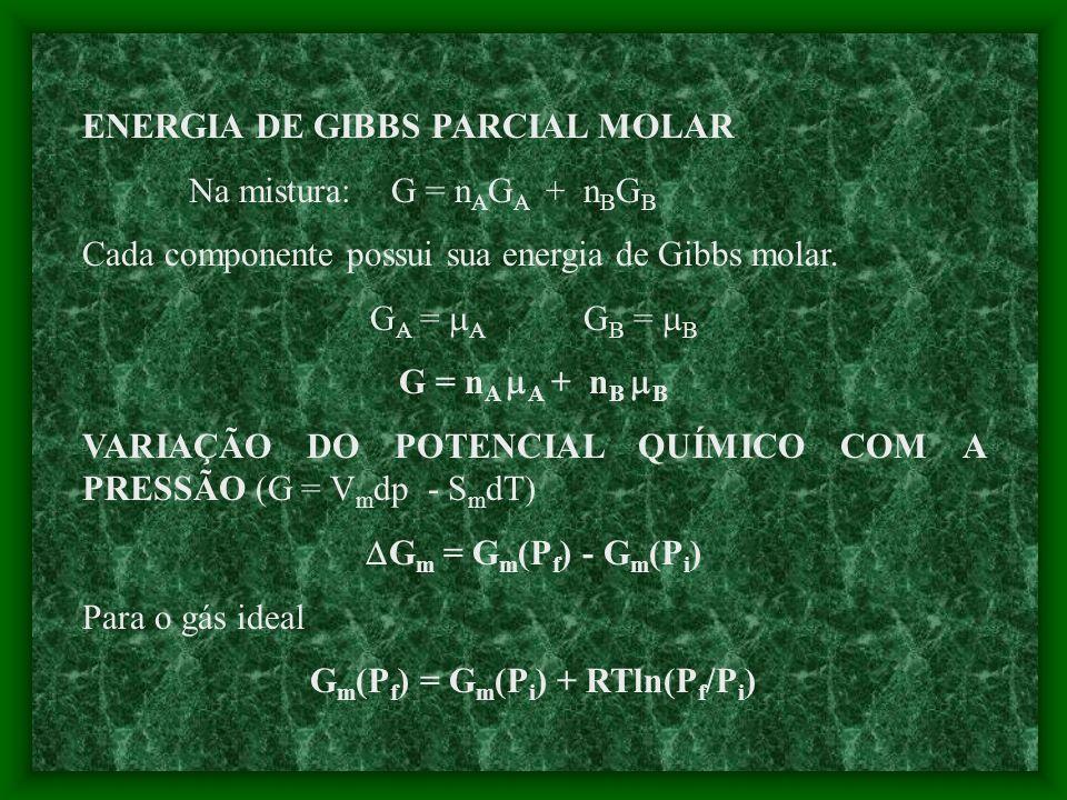 Gm(Pf) = Gm(Pi) + RTln(Pf/Pi)